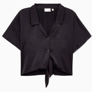 Wilfred Tops - Wilfred Huang Satin Tie-Front Blouse